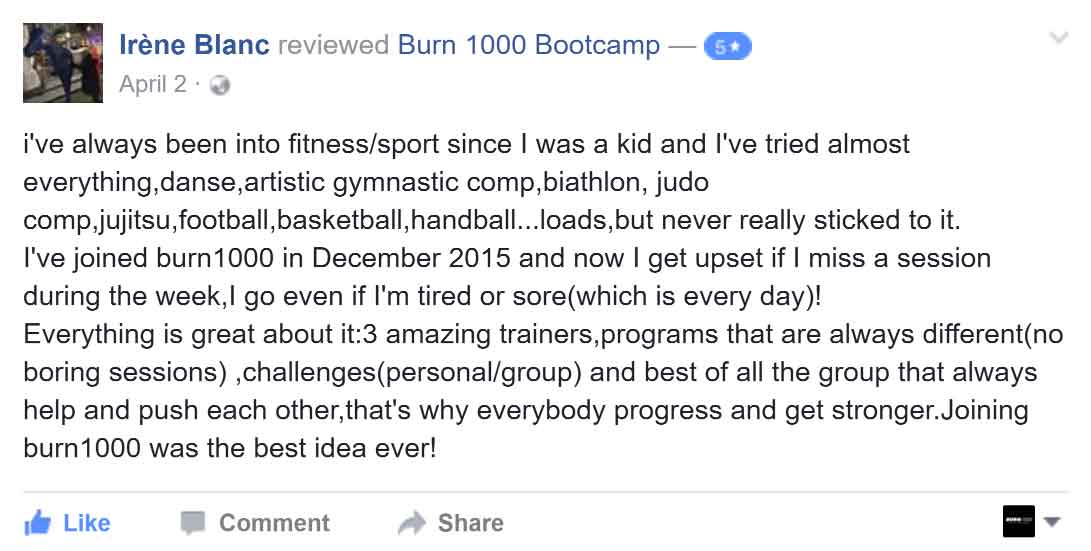 irene facebook review burn 1000 bootcamp
